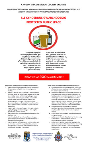 Alcohol consumption in public space protection order 2017 poster
