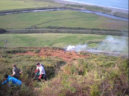 Volunteers clear a line of scrub